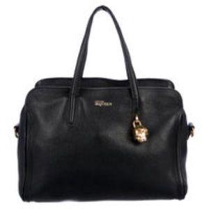 Alexander McQueen Calfskin Padlock Satchel Bag